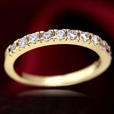 18K GOLD GF LADIES ETERNITY BAND ANNIVERSARY WEDDING RING W/ SIMULATED DIAMOND