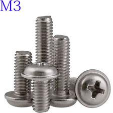 M3 304 Stainless steel Flanged Button Head Round Washer Head Phillips Screws A2
