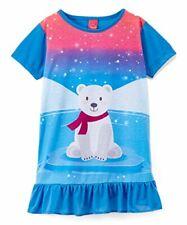 Snooz Girl's Lightweight Polyester Polar Bear Winter Themed Nightgown, Gown