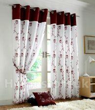 TAHITI Borgogna bianco foderato Curtain pronte con occhielli nella parte superiore Net VOILE finestra