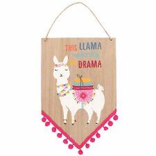 Llama hanging wooden sign decorative Wall plaque