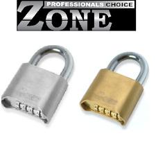 Zone Re-Settable 50mm 4 Wheel Combination Padlock - SCP / PB - Hardened Shackle