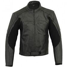 Mens Biker Jackets Vintage Racer Black Leather Motorcycle Casual Slim Fit Zip Up
