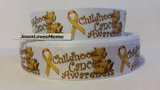 "Grosgrain Ribbon, Childhood Cancer Awareness wtih Teddy Bears, Gold Ribbon, 1"""