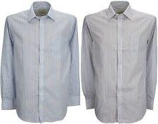 Ex store repassage facile riche coton sergé chemise rayée
