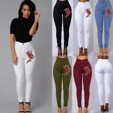 Women Embroidery Floral  Leggings Jeans High Waist Denim Pencil Long Pants LC