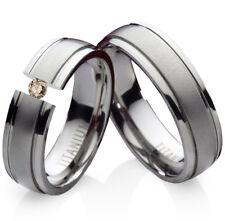 2 Eheringe Trauringe mit echtem Diamant Verlobungsringe aus Titan Gravur TLB3