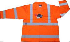 Hi-Vis Fluorescent Orange Warning Jacket Class 2 High Visibility Retro Tape Work