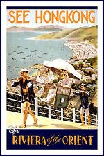 Hong Kong  Vintage Illustrated Travel Poster Print  Glass Frame 90cm