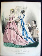 Vintage French Color Gravure de Mode 1868 Journal des Demoiselles Paris Inv1400