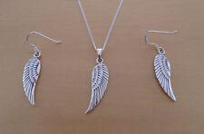Sterling Silber Tropfen hängende Engel Flügel Ohrringe & Anhänger Set & Panzerkette