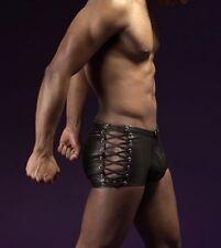 Mens Underwear Faux Leather Shorts trunks Bondage Gothic Pants Rivet Boxers