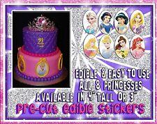 8 Disney Princesses edible cake stickers! Fondant paper ideas topper characters