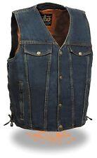 Men's BLUE Classic Snap Front Denim Vest with V-Neck Collar & Gun Pocket