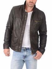 DE Herren Lederjacke Biker Men's Leather Jacket Coat Homme Veste En cuir R80b