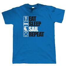EAT Sleep Vela ripetere T Shirt-Vela regalo per lui GOMMONE BARCA CATAMARANO