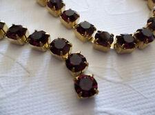 6mm Amethyst Purple Rhinestone Chain - Brass Setting - 29SS Large Czech Crystals