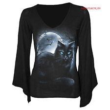 SPIRALE DIRECT MISTICA LS scollo a V gothsleeve/Maglia/NERO GATTO Goth / Bats