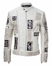 Mens Handmade Jacket White Real Leather Punk Style Studs Plein Biker Zipper Coat