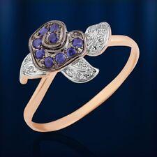 Russische Rose  Gold 585 Goldring mit Brillanten & Saphir Niedlich 💖💖💖💖💖