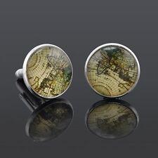 World Map Atlas Earth Gold Silver or Bronze Cufflinks Cuff Links in gift bag UK