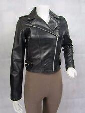 Ladies Black Leather Zip Slim Tight Fitted Short Biker Jacket Punk Bike