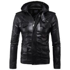 Men Slim Fit Leather Jacket Hooded Motorcycle Outwear Zipper Waterproof Coat New
