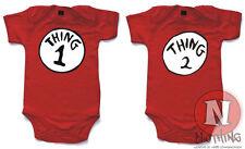 Naughtees BODY Thing One Two Rojo Algodón Gemelos Enterizo Babysuit body