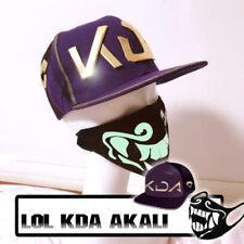 LOL League of Legends KDA Akali Snapback Baseball Cap Hat Mask Cosplay Props