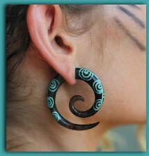 Split Hook Fake Horn Gauge Carved Handmade Spiral Turquoise Earring Silver Bar