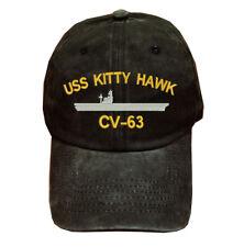 Black Washed cotton cap dad hat USS KITTY HAWK CV-63 BATTLESHIP
