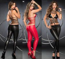 Sexy Shiny PVC lingerie Catsuit dance dress Ladies clubwear party Fancy Dress