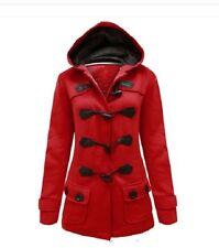 Femmes bouton toggle red duffle trench poche veste à capuche manteau taille 8 à 14