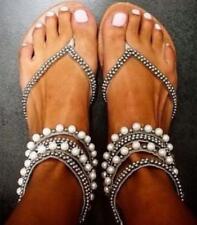 Boho Women's Gladiator Rhinestone Flip Flop Ankle Strap Sandals Flat Beach Shoes