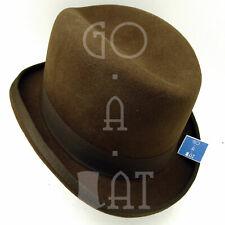 CLASSIC Wool Felt Men Homburg Hat Fedora Gutter Crown Topper | Brown | M L XL