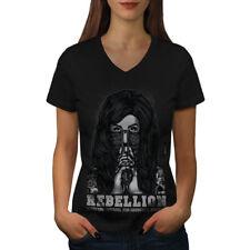 Emo Horror Girl Gangster Women V-Neck T-shirt NEW | Wellcoda