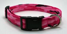 Pink Camo Camouflage Dog Collar Adjustable Handmade Custom Designer