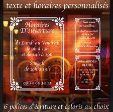Sticker Horaires d'ouverture vitrine de magasin boutique bar - personnalisable
