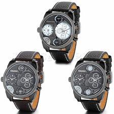 Men's Leather Strap Stainless Steel Military Sport Quartz Analog Wrist Watch