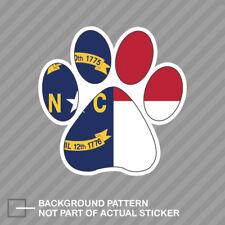 North Carolina State Shaped Paw Print Sticker Dog Cat Pet Puppy