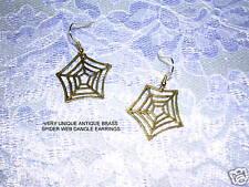NEW WILD & WICKED ANTIQUE BRONZE SPIDER WEB EARRINGS