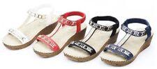 Women's Casual Open Toe Summer Wedge Heel Platform Ankle T-Strap Sandals Shoes