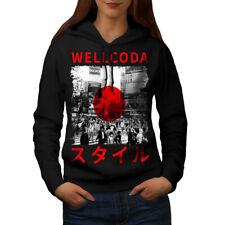Wellcoda Japan Style Flag Womens Hoodie, Japanese Casual Hooded Sweatshirt