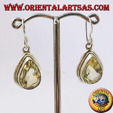 Orecchini d'argento con Topazio a goccia sfaccettata