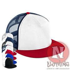 Snapback cap 5 panel flat peak mesh back baseball hat adjustable unisex New