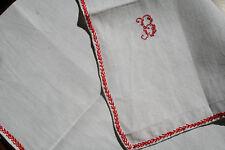 monogramme B, sur une ancienne serviette  N°154 ,fil de lin
