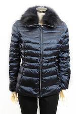 Cappotto da donna blu ConteofFlorence pelliccia giubetto zip casual moda tasche
