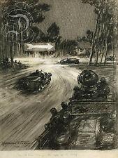 REPRO DECO AFFICHE COURSE LE MANS 1923 GORDON CROSBY SUR PANNEAU MURAL BOIS HDF