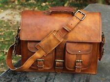 Men's Women's brown leather messenger Real satchel bag genuine laptop briefcase