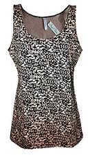 Womens B.C Long Vest Tank Top Animal Print Beige - Black Size 6 to 14 WV14